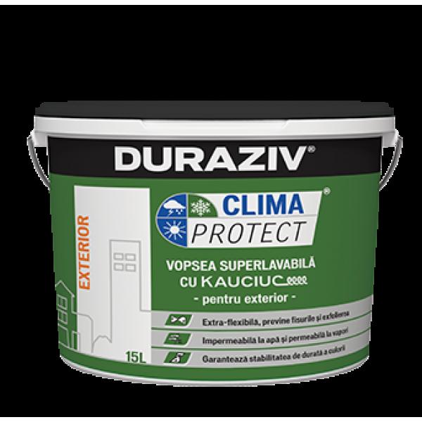 DURAZIV Clima Protect® - Vopsea superlavabilă albă pentru exterior cu Kauciuc® (15L)
