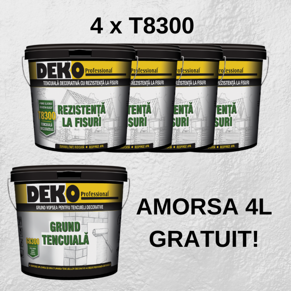 4 x Deko T8300 tencuială silicon-silicat + amorsa 4L GRATUIT!