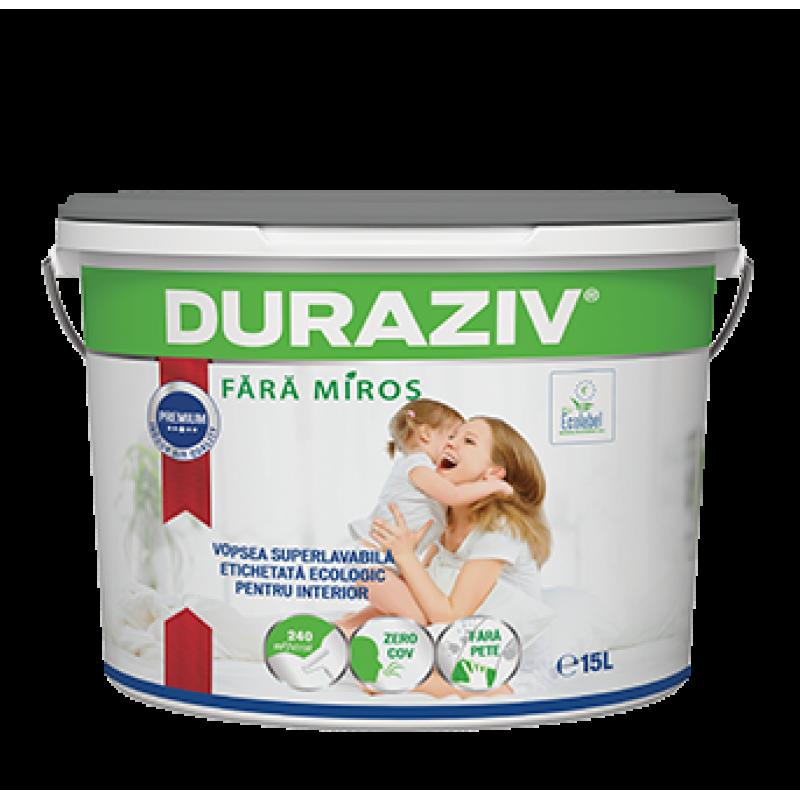 DURAZIV Fără Miros - Vopsea superlavabilă albă etichetată ecologic, cu Kauciuc®, Ecolabel (15L)