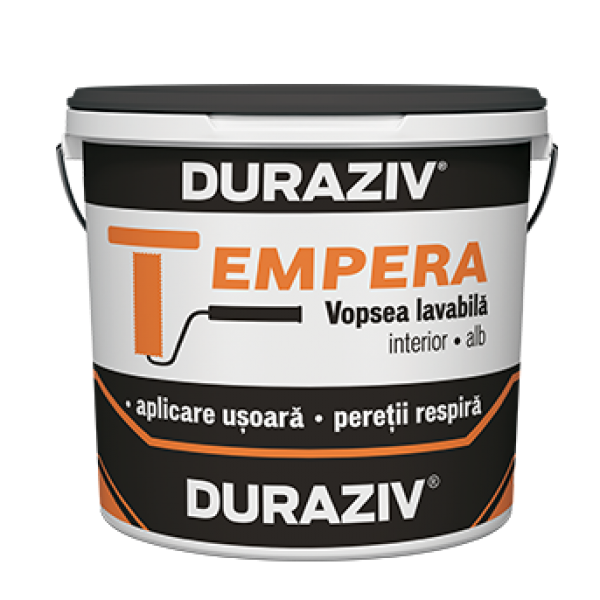 DURAZIV Tempera - Vopsea lavabilă albă pentru interior (15L)
