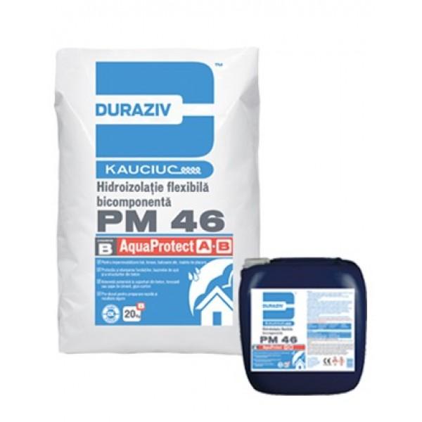 DURAZIV PM 46 - Hidroizolaţie bicomponentă flexibilă, aditivată cu Kauciuc® (6.7kg + 20kg)