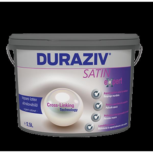 DURAZIV Satin Expert - Vopsea latex ultralavabilă albă pentru interior, cu aspect satinat (10L)