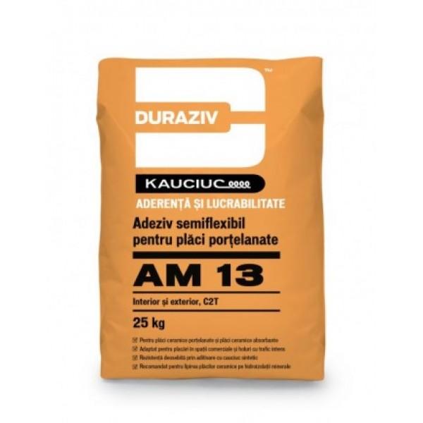 DURAZIV AM 13 - Adeziv semiflexibil pentru plăci porțelanate, aditivat cu Kauciuc® (25kg)