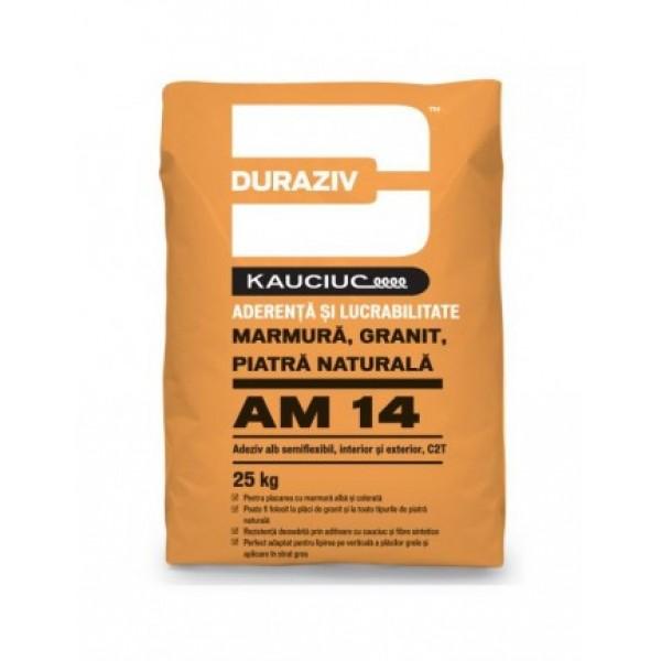 DURAZIV AM 14 - Adeziv alb semiflexibil pentru marmură, granit și piatră naturală, aditivat cu Kauciuc® (25kg)