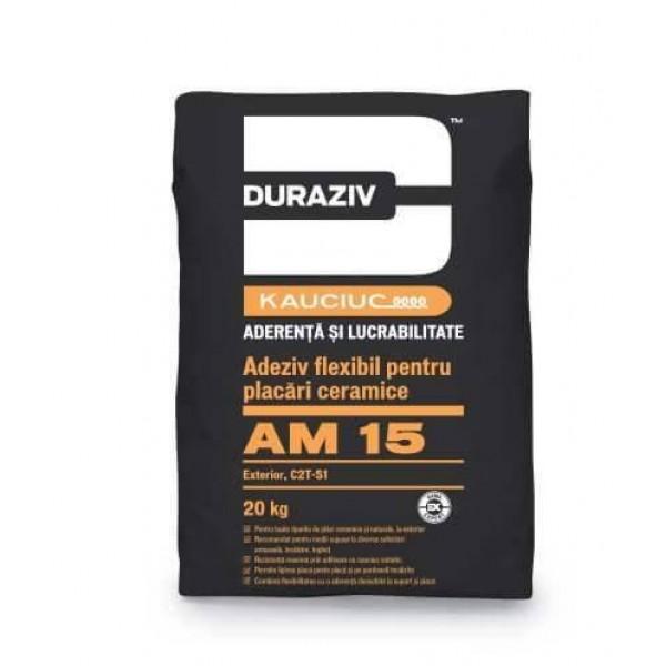 DURAZIV AM 15 - Adeziv flexibil pentru placări ceramice la interior şi exterior, aditivat cu Kauciuc® (20kg)