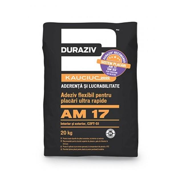 DURAZIV AM 17 - Adeziv flexibil, pentru placări ultra rapide, la interior și exterior, aditivat cu Kauciuc® (20kg)
