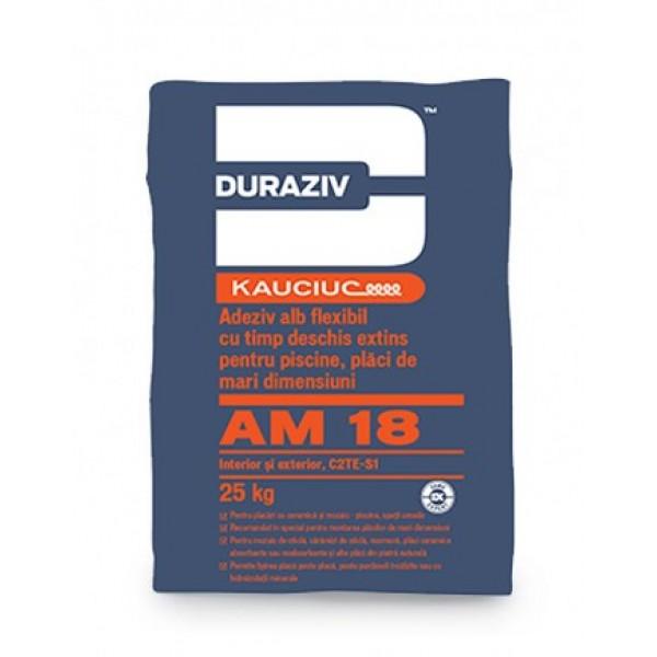 DURAZIV AM 18 - Adeziv alb flexibil pentru piscine și plăci de mari dimensiuni, aditivat cu Kauciuc® (25kg)