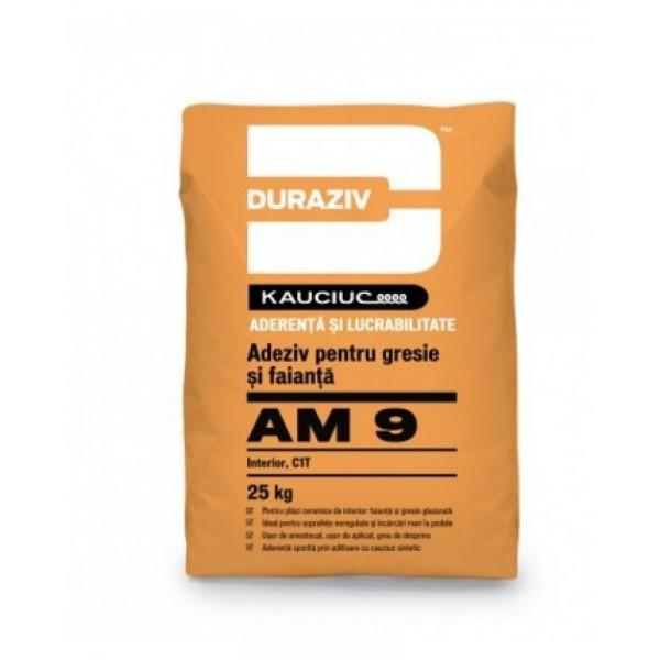 DURAZIV AM 9 - Adeziv pentru gresie și faianță, pentru interior, aditivat cu Kauciuc® (25kg)
