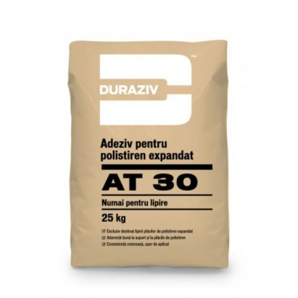 DURAZIV AT 30 - Adeziv pentru polistiren expandat numai pentru lipire (25kg)
