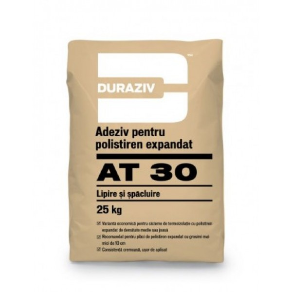 DURAZIV AT 30 - Adeziv și masă de șpaclu pentru polistiren expandat (25kg)