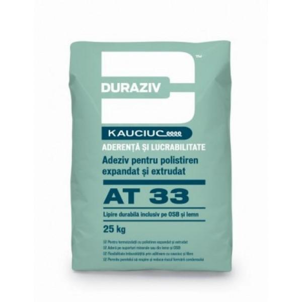 DURAZIV AT 33 - Adeziv pentru polistiren expandat și extrudat, aditivat cu Kauciuc® (25kg)