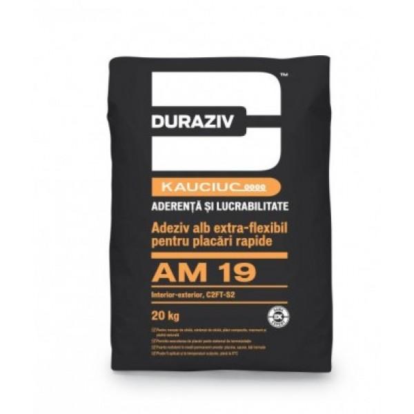DURAZIV AM 19 - Adeziv alb extra-flexibil pentru placări rapide, la interior și exterior, aditivat cu Kauciuc® (20kg)