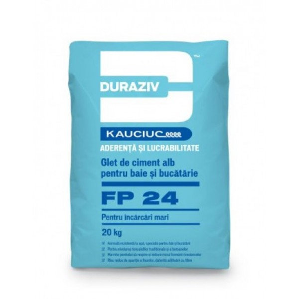DURAZIV FP 24 - Glet de încărcare, pe bază de ciment alb, aditivat cu Kauciuc® (20kg)