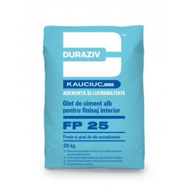 DURAZIV FP 25 - Glet de finisare pe bază de ciment alb, aditivat cu Kauciuc® (20kg)