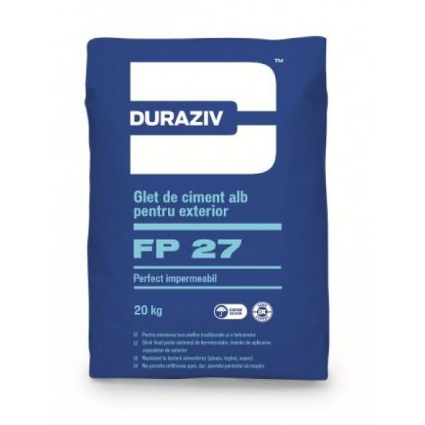 DURAZIV FP 27 - Glet de ciment alb perfect impermeabil pentru exterior GAMA EXPERT, aditivat cu Kauciuc® (20kg)