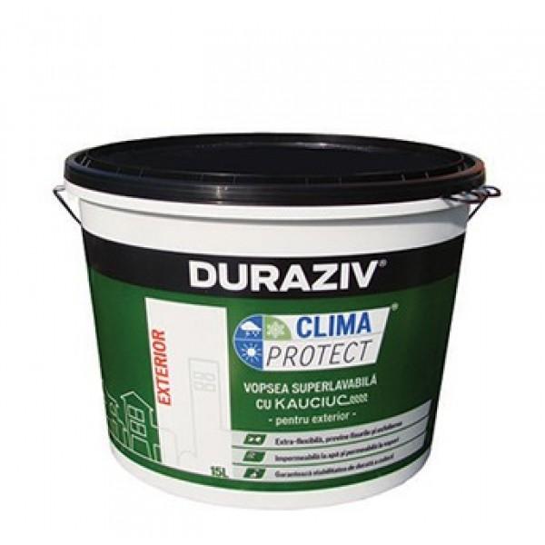 DURAZIV Clima Protect® - Vopsea superlavabilă albă pentru exterior cu Kauciuc® - 15L