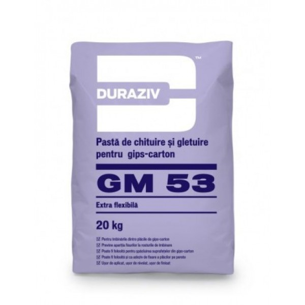 DURAZIV GM 53 - Pastă de chituire gips-carton și glet alb de finisaj (20kg)