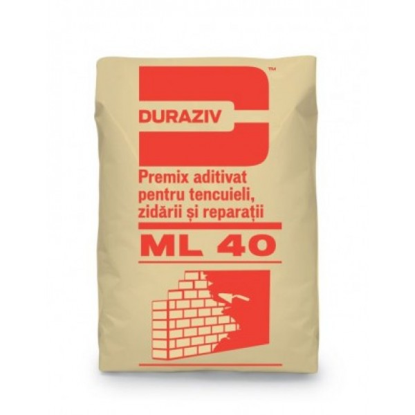 DURAZIV ML 40 - Premix aditivat pentru tencuieli, zidării și reparații (25kg)