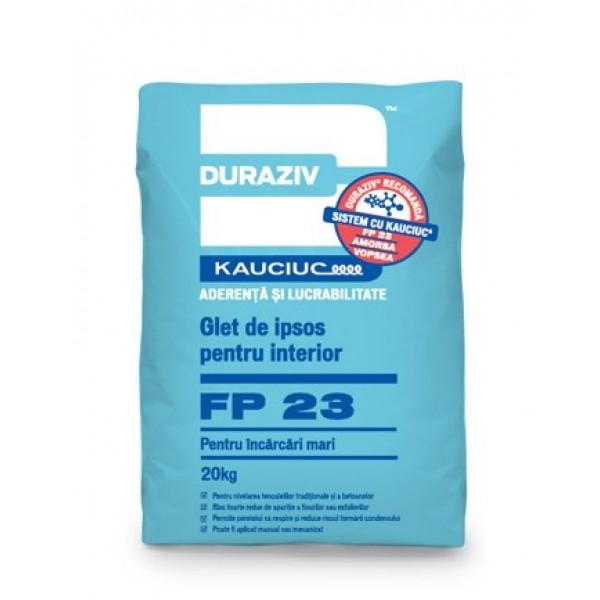 DURAZIV FP 23 - Glet de ipsos pentru interior pentru încărcări mari, aditivat cu Kauciuc® (20kg)