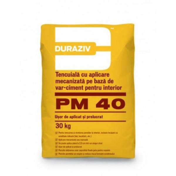 DURAZIV PM 40 - Tencuială mecanizată pe bază de var-ciment pentru interior (30kg)