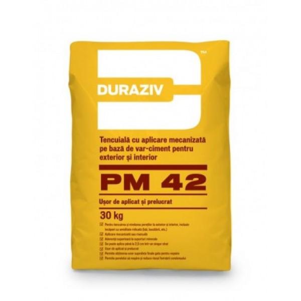 DURAZIV PM 42 - Tencuială cu aplicare mecanizată pe bază de var-ciment, pentru interior și exterior (30kg)